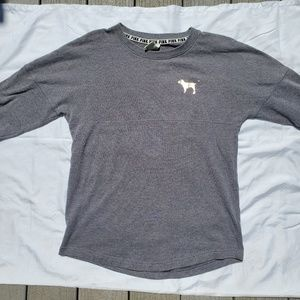 PINK gray long sleeved sweatshirt